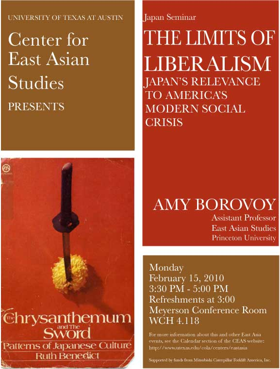 Japan Seminar: The Limits of Liberalism: Japan's Relevance to America's Modern Social Crisis.
