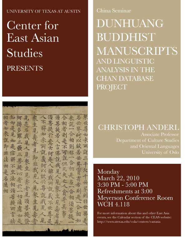 China Seminar: Dunhuang Buddhist Manuscripts and Linguistic Analysis in the Chan Database Project