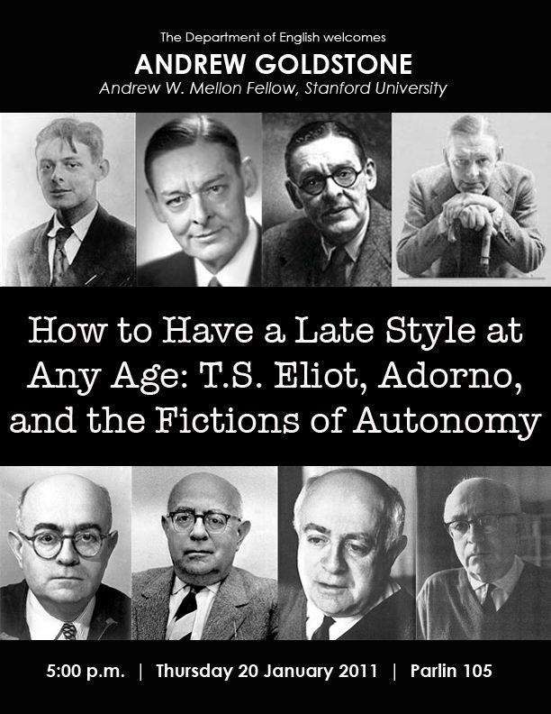 How to Have a Late Style at Any Age: T.S. Eliot, Adorno, and the Fictions of Modernity