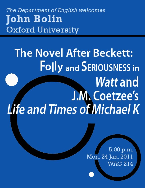 The Novel After Beckett: Folly and Seriousness in WATT and J.M. Coetzee's LIFE AND TIMES OF MICHAEL K