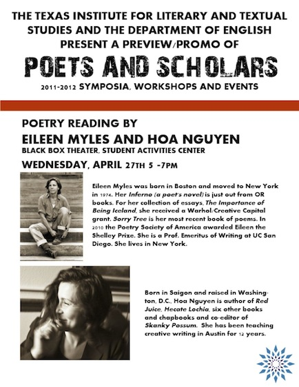 Evening poetry reading with Eileen Myles and Hoa Nguyen
