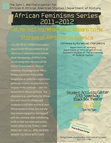 "African Feminisms Series Seminar - ""Let me Tell You What Africa Means to Me…: Stories of Africa from America"""