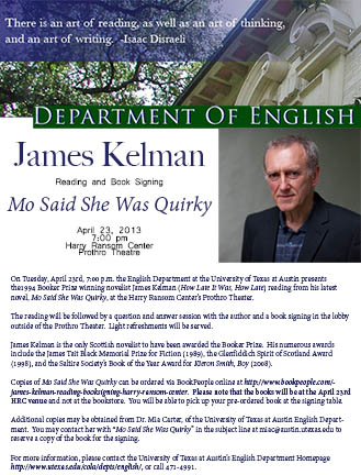 James Kelman Reading and Book Signing