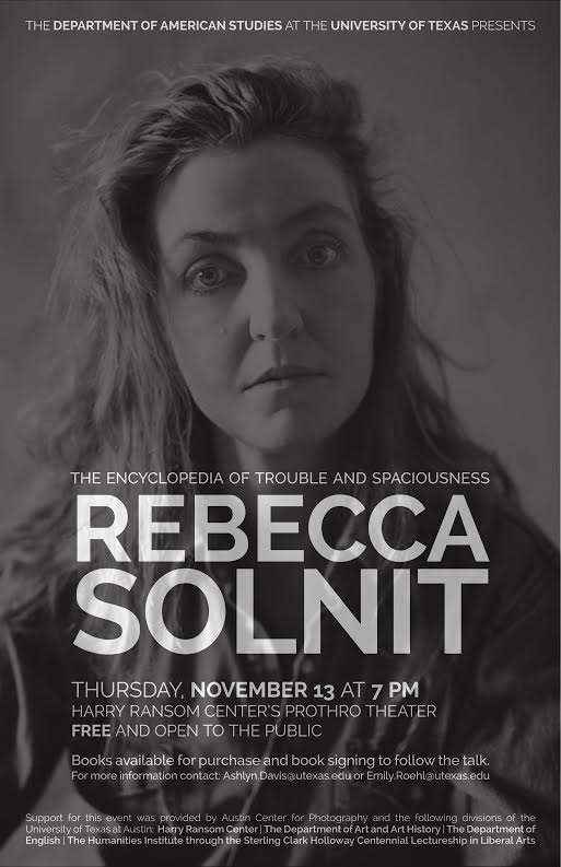 Lecture: Rebecca Solnit,