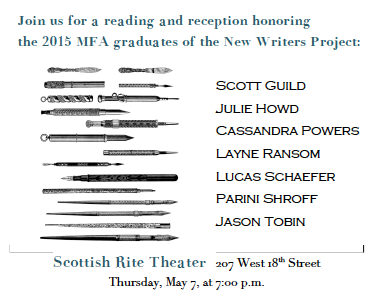 New Writers Project 2015 Graduates Reading and Reception