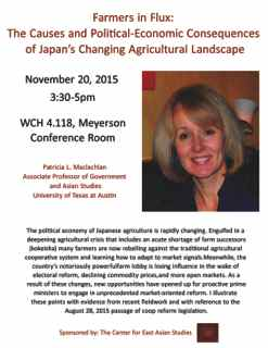 East Asian Political Economy lecture series: Patricia Maclachlan,