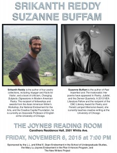 A Poetry Reading by Srikanth Reddy and Suzanne Buffam, November 6, 7 PM