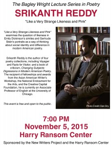 Srikanth Reddy: Bagley Wright Lecture Series, November 5, 7 PM