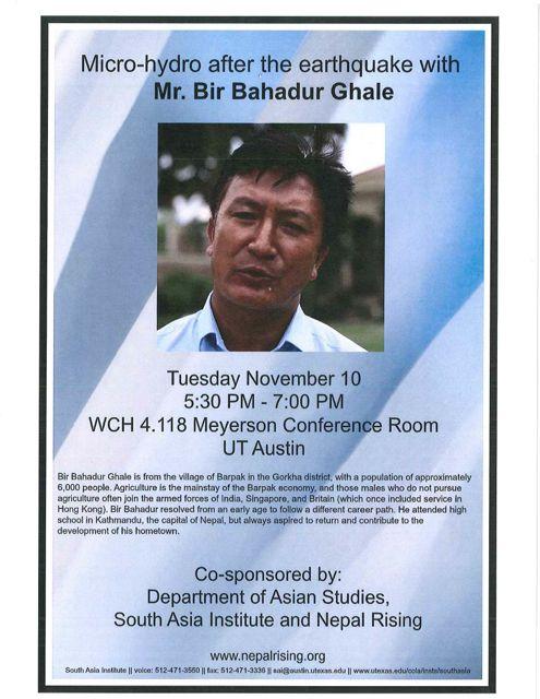 Research Presentation: Micro-hydro after the earthquake with Mr. Bir Bahadur Ghale