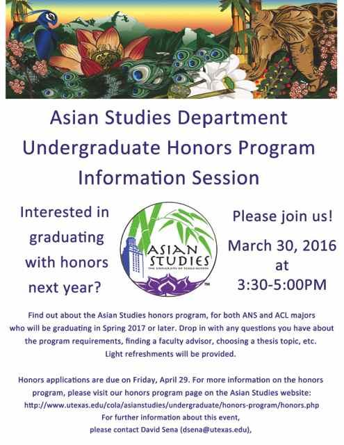 Asian Studies Undergraduate Honors Program information session