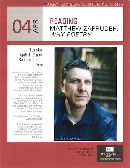Poetry Reading: Matthew Zapruder