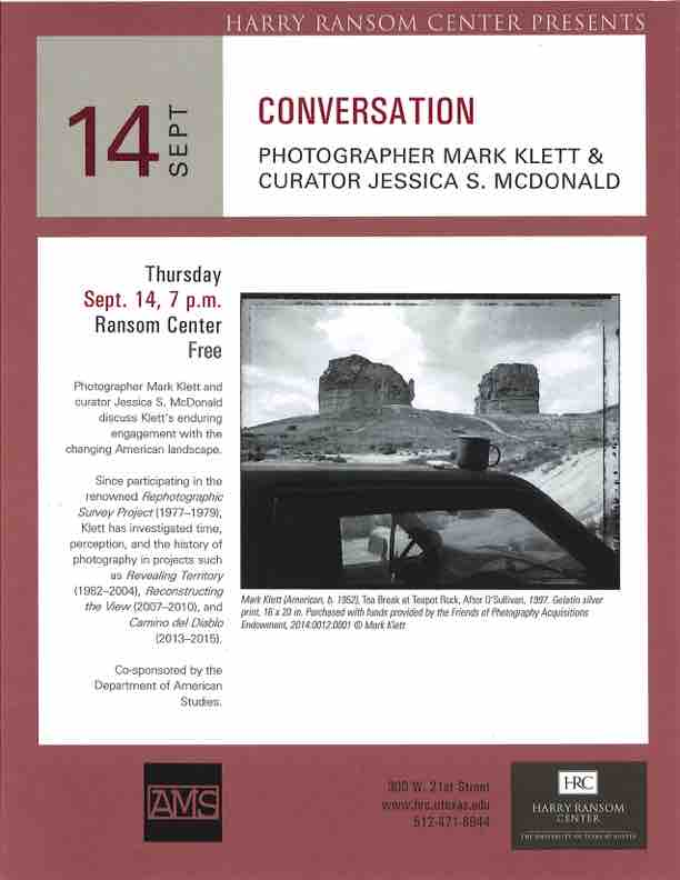 Mark Klett in conversation with Jessica S. McDonald