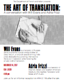 The Art of Translation: A Conversation with Will Evans and Adria Frizzi