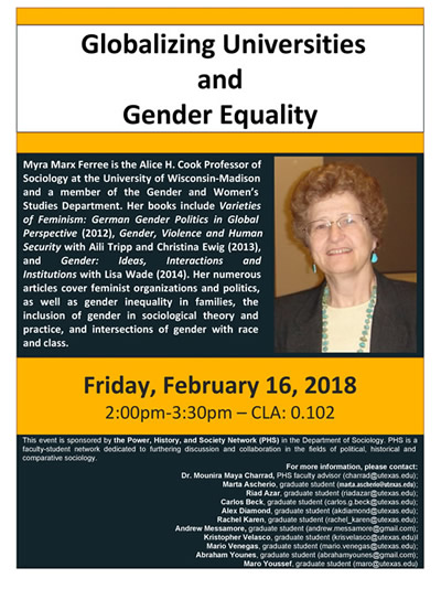 PHS Annual Distinguished Lecture: Myra Marx Ferree -