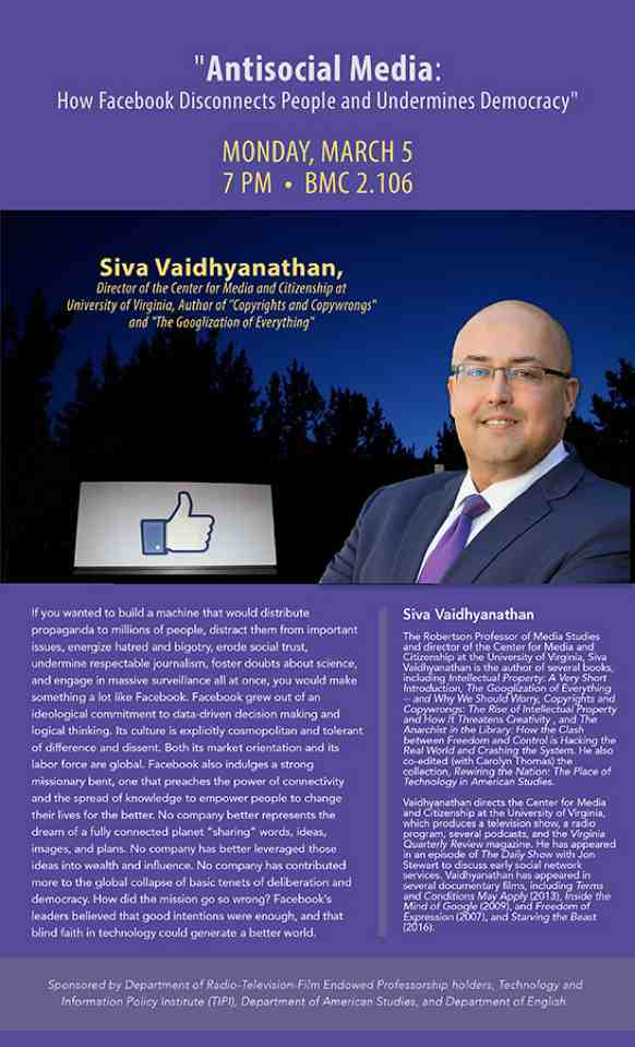 Public Lecture: UT AMS PhD Dr. Siva Vaidhyanathan,
