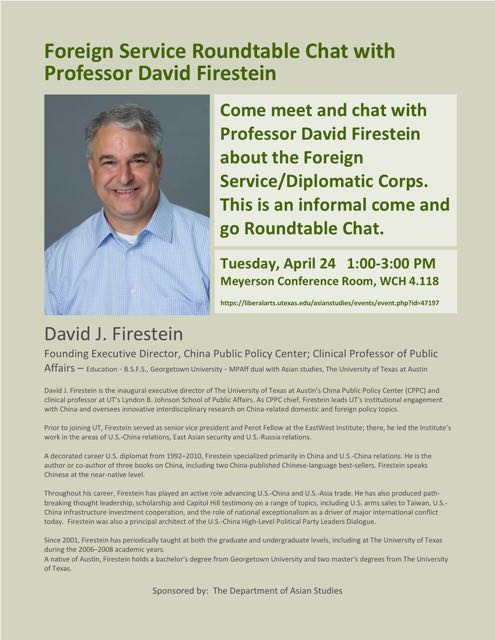 Foreign Service Roundtable Chat with Professor David Firestein