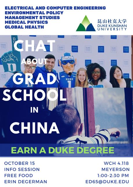 Chat About Grad School in China:  Earn a Duke Degree