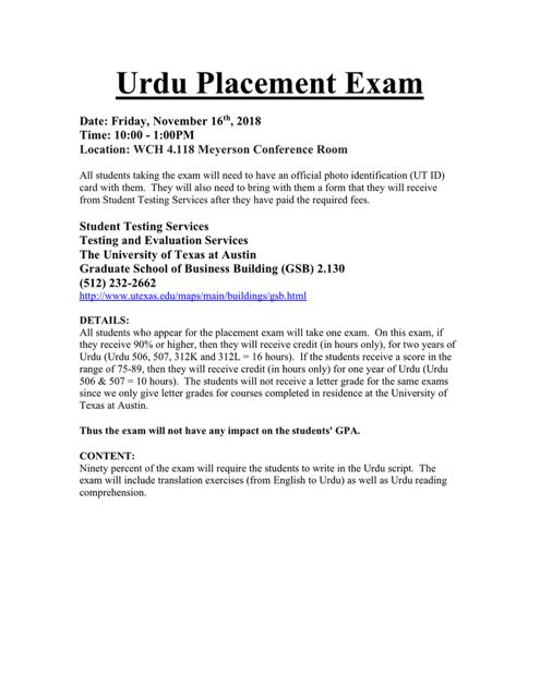 Urdu Placement Exam