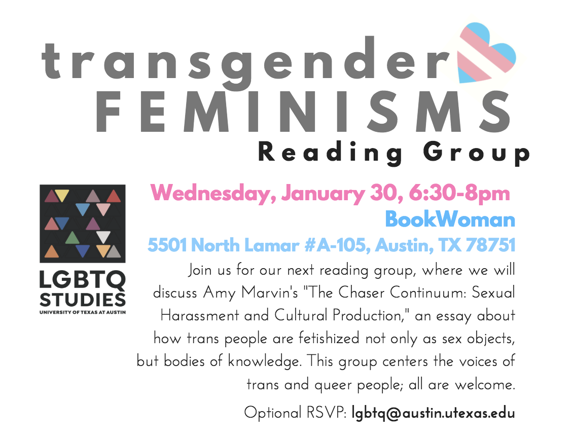 Transgender Feminisms Reading Group January 30!