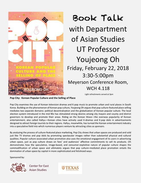 Book Talk with Department of Asian Studies UT Professor Youjeong Oh