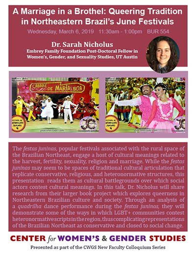 A Marriage in a Brothel: Queering Tradition in Northeastern Brazil's June Festivals  - Faculty Development Program - Sarah Nicholus