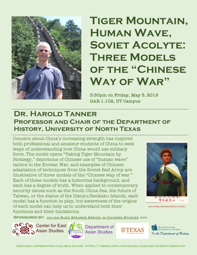 Professor Harold Tanner Talk: Tiger Mountain, Human Wave, Soviet Acolyte: Three Models of the