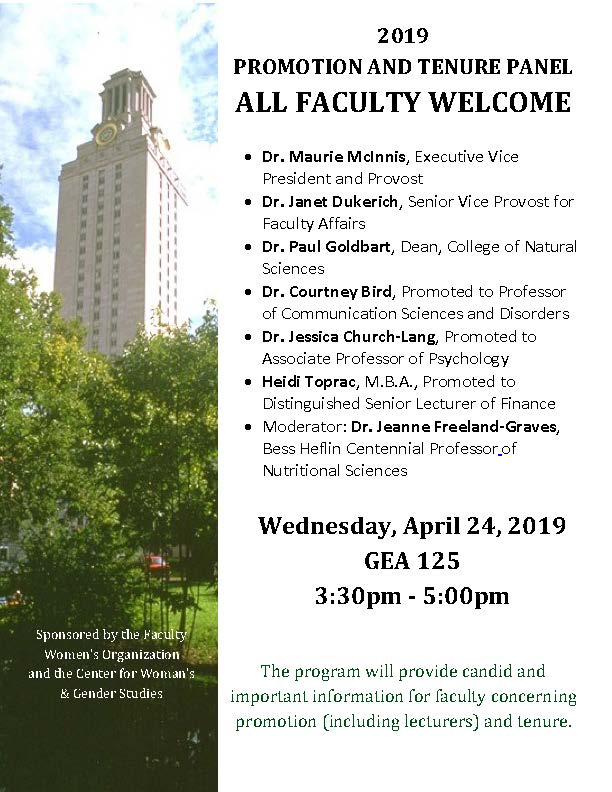 2019 PROMOTION AND TENURE PANEL - ALL FACULTY WELCOME