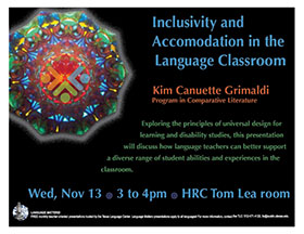 Wednesday, November 13 3 to 4pm, HRH Tom Lea room