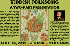 Yiddish Folksong Two Part Presentation: Dr. Itzik Gottesman and Ethel Raim