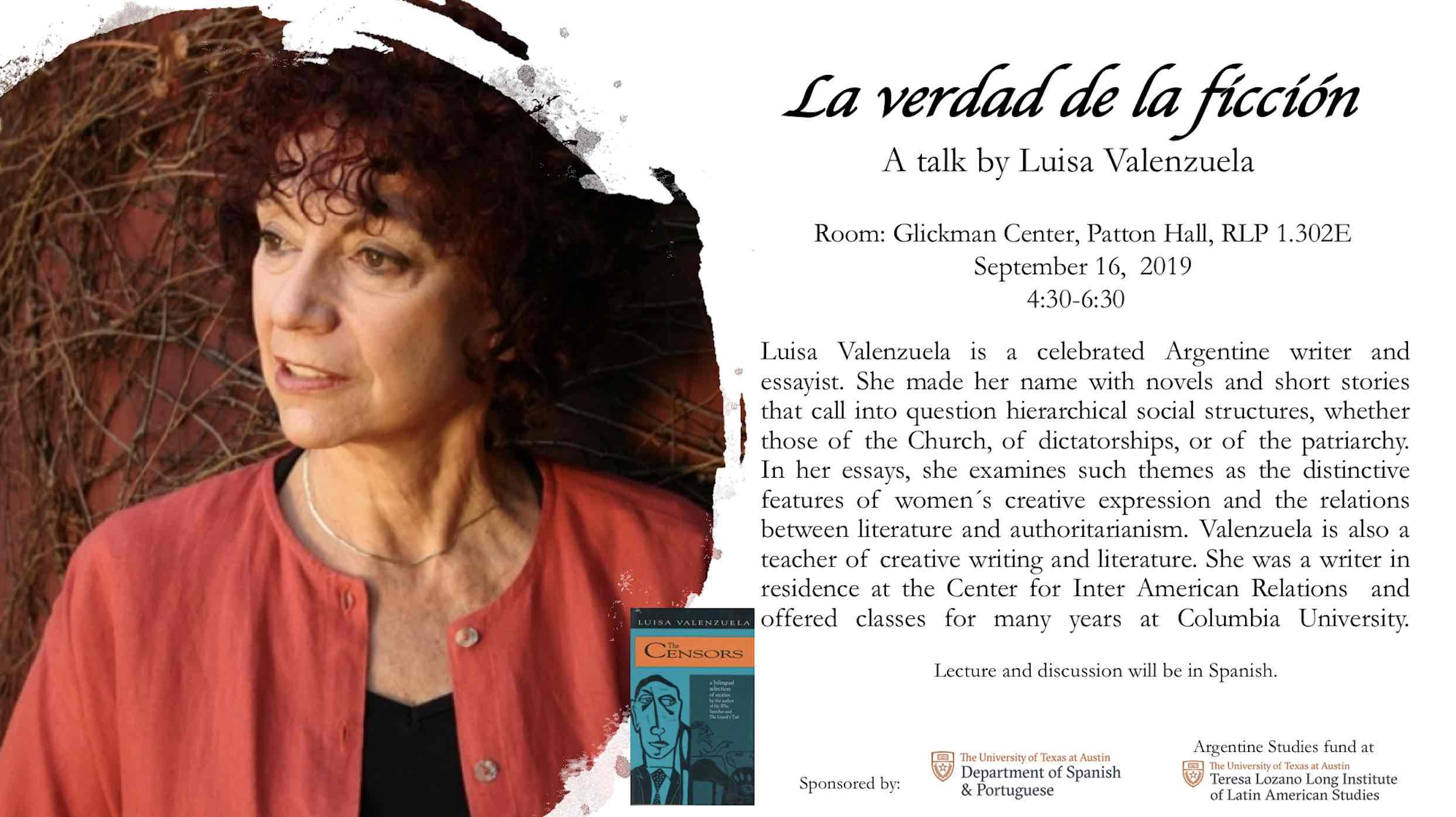 La Verdad De La Ficcion: A Talk By Luisa Valenzuela