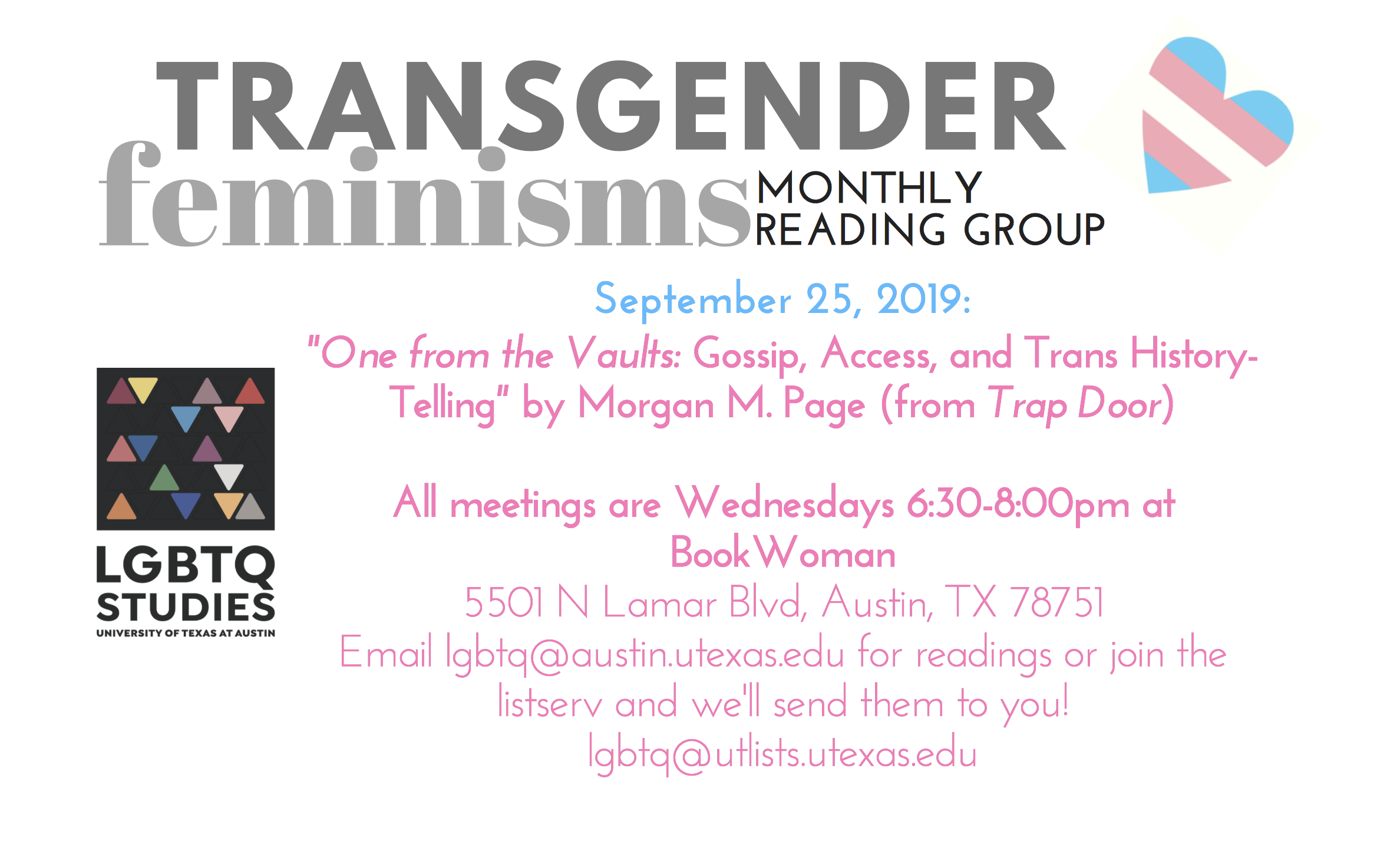 September Transgender Feminisms Reading Group