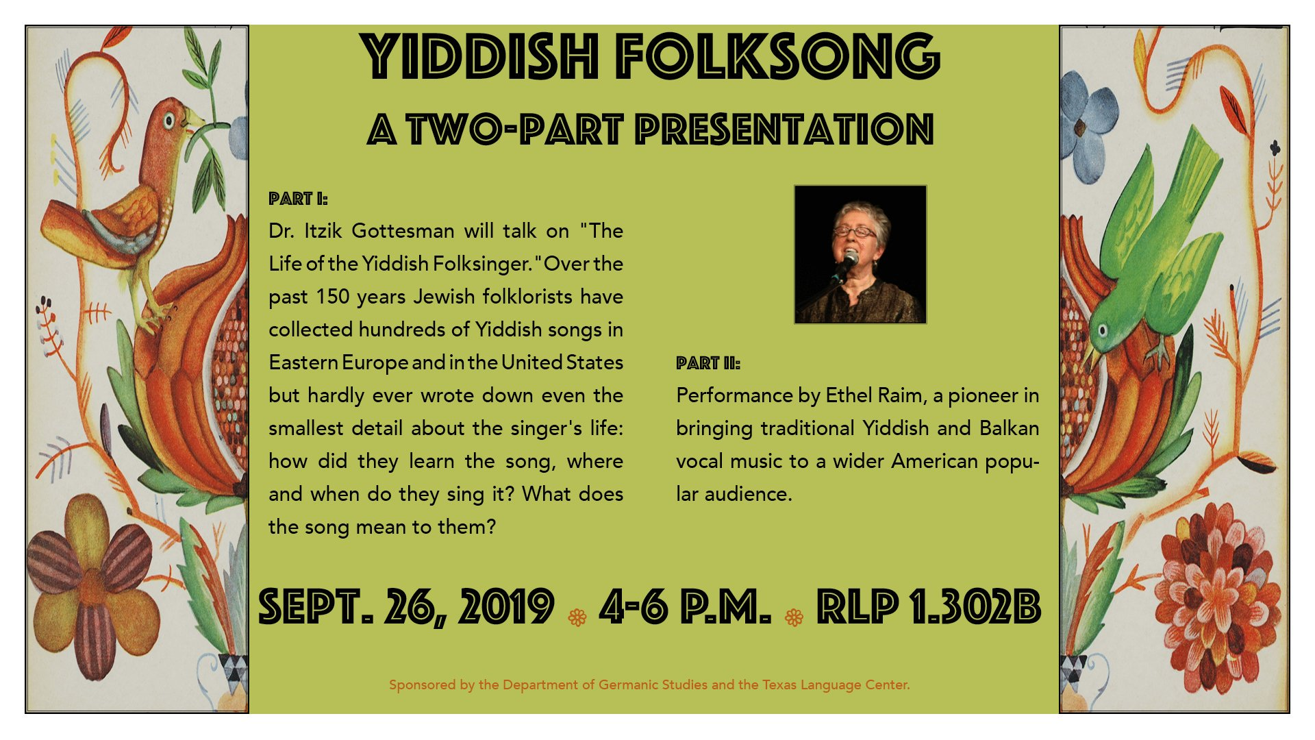 Yiddish Folksong: A Two-Part Presentation
