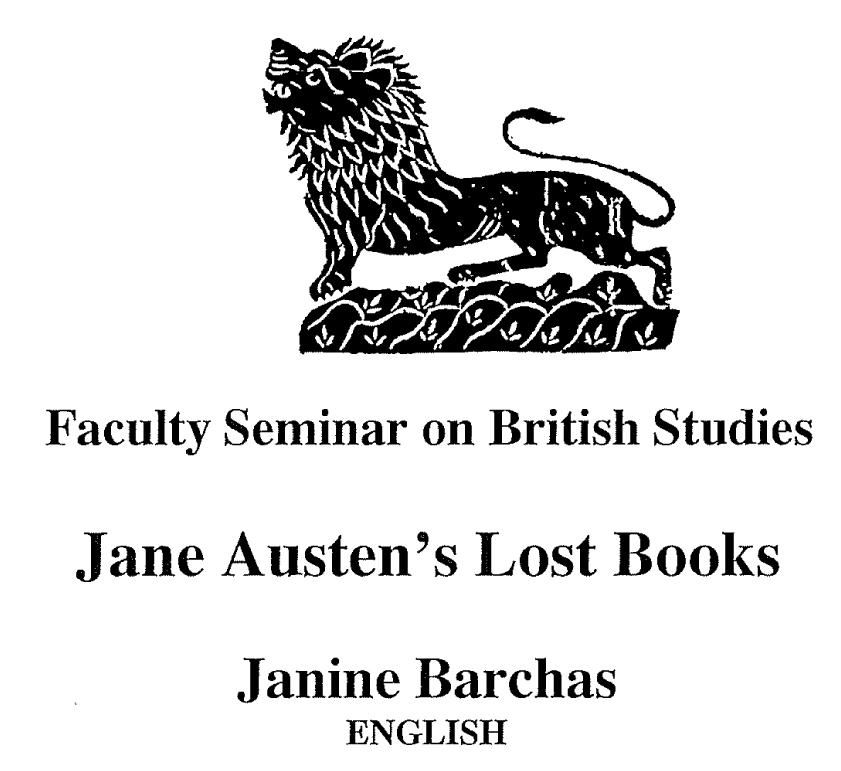 Jane Austen's Lost Books