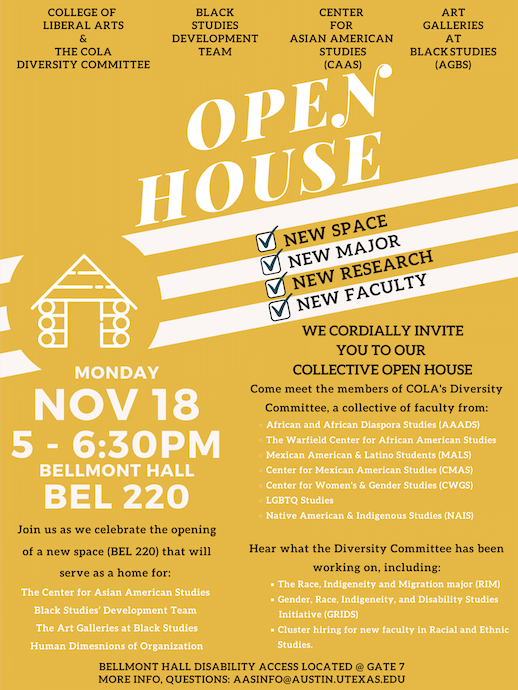 Invitation: RSVP for our Open House ft. COLA's Diversity Committee, CAAS, Black Studies