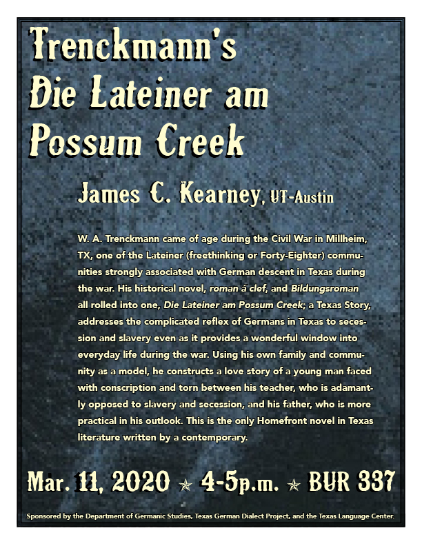 Talk by Dr. Kearney: Trenchkmann's Die Lateiner am Possum Creek