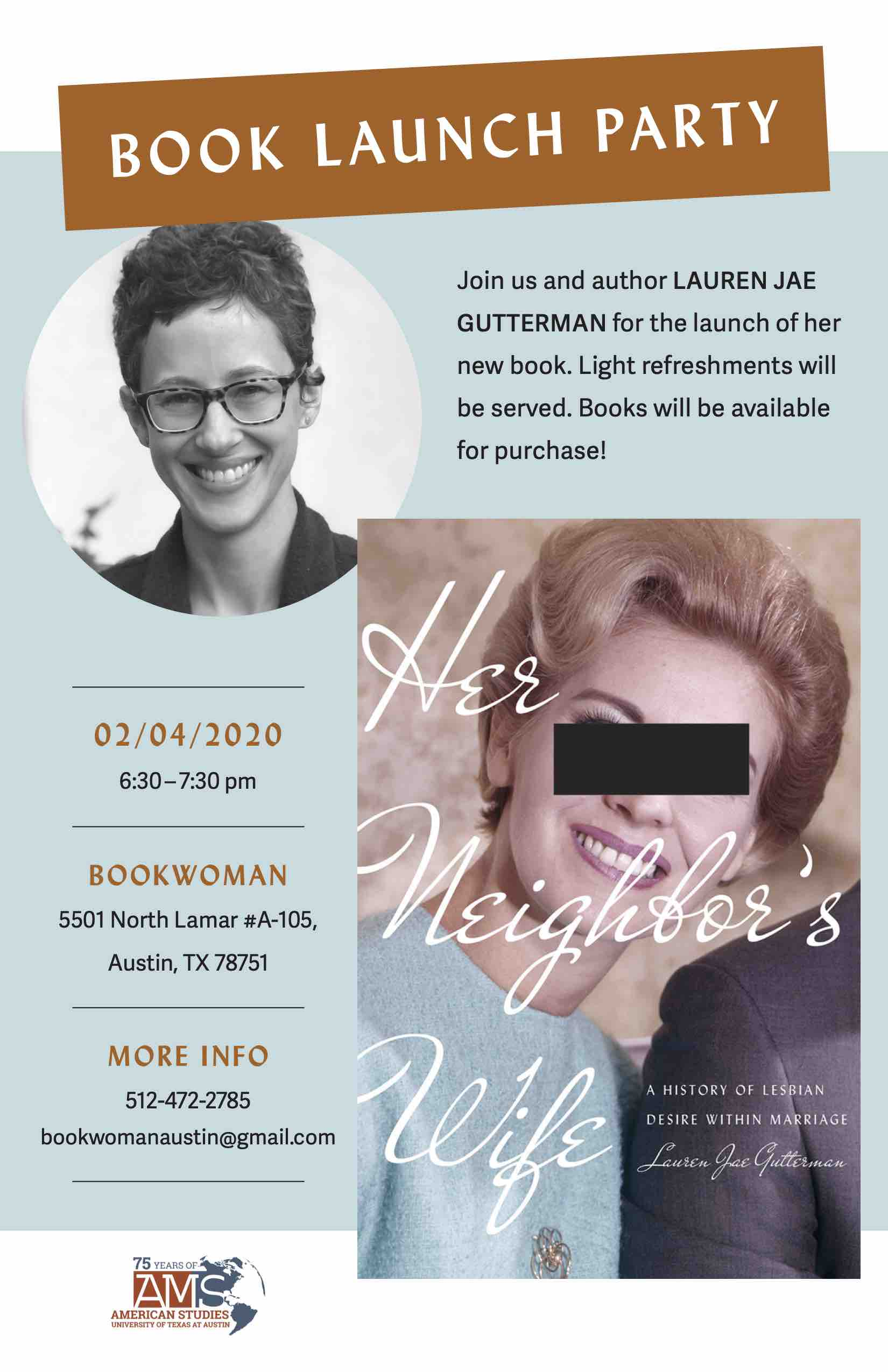 Book Launch Party for Dr. Lauren Gutterman's New Book, Her Neighbor's Wife
