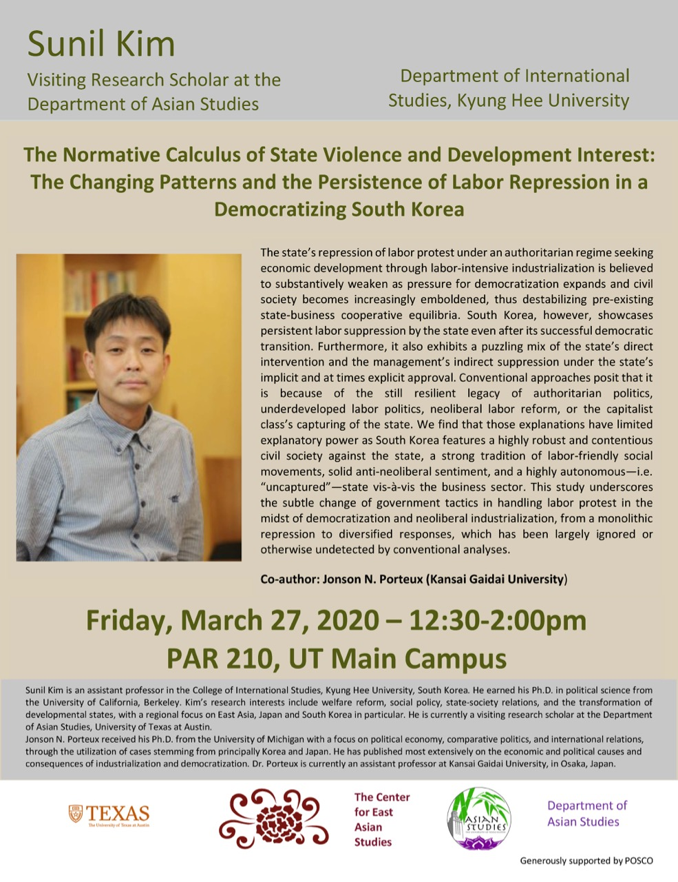 Talk: The Normative Calculus of State Violence and Development Interest: The Changing Patterns and the Persistence of Labor Repression in a Democratizing South Korea