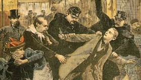 Oswaldo Tofani: A Bomb at the Cafe Terminus, the Arrest of the Assassin, illustration from Le Petit Journal, Feb. 26, 1894