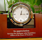 Honorees receive an engraved clock in appreciation of their efforts on behalf of those with disabilities.