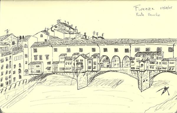 Drawing of Ponte Vecchio is taken from Robert Lemon's 2005 travel sketchbook.