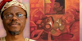 Prof. Toyin Falola with detail from jacket of book
