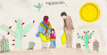 """5th Grade Child's Vision of Migration to """"el  Otro Lado,"""" Children's Participatory Workshop, """"Mi Pueblo y el otro lado,"""" Veracruz, Mexico"""