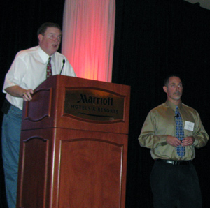 Troy Kimmel with Fred Glass of the National Weather Service in St. Louis