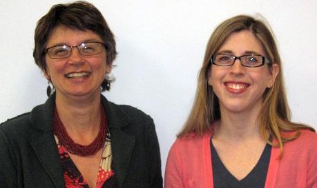Caroline Wigginton (r) and thesis adviser Lisa Moore, Associate Professor.