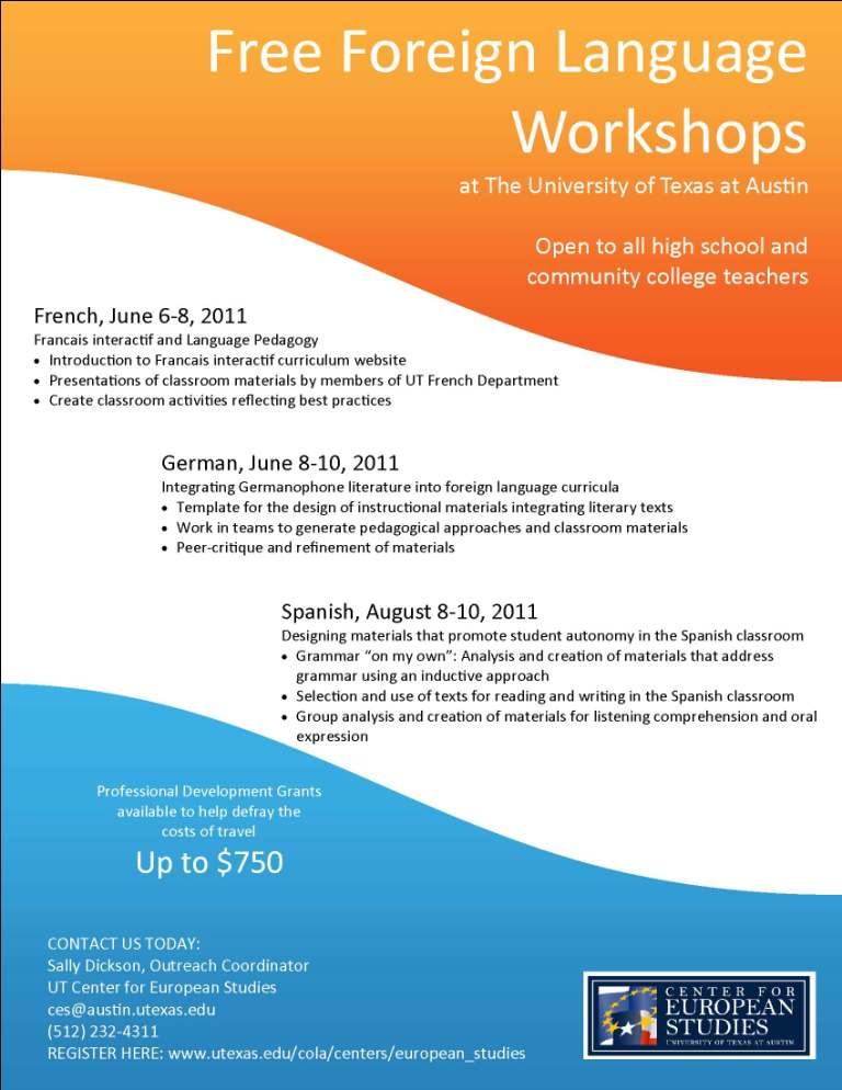 Summer Language Workshops for Spanish: CPE Credit Available Registration Closed