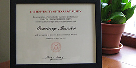 Courtney Meador's signed certificate from Dean Randy Diehl