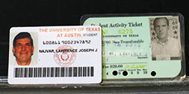 Larry Najvar's student IDs from 2011 and 1968
