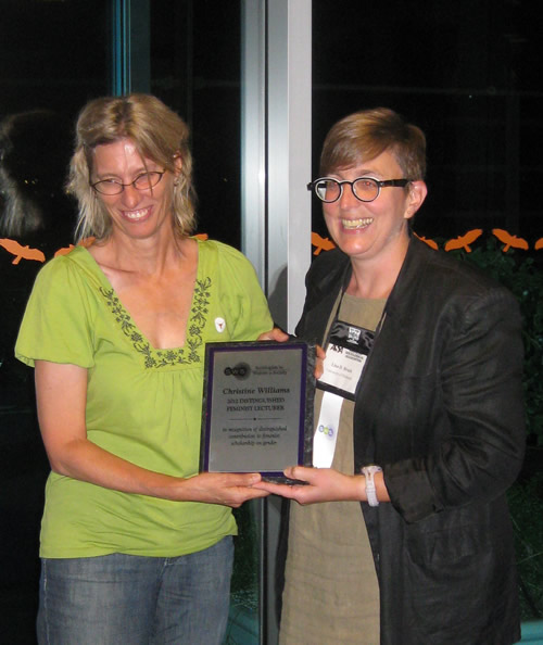 Williams receives SWS Feminist Lecturer Award at 2012 ASA conference in Las Vegas, NV.