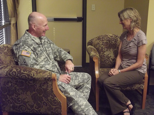 US Army General Robert Cone, alumnus, and Sociology Department Chair Dr. Christine Williams