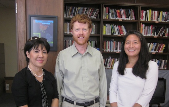 Nancy Bui with VAHF, Destin Smith with the Office of the Associate Dean for Research, and Madeline Hsu director of CAAS